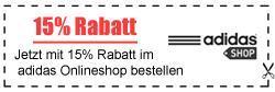 Adidas Store 15% + GRATIS Lieferung  Kein MBW.
