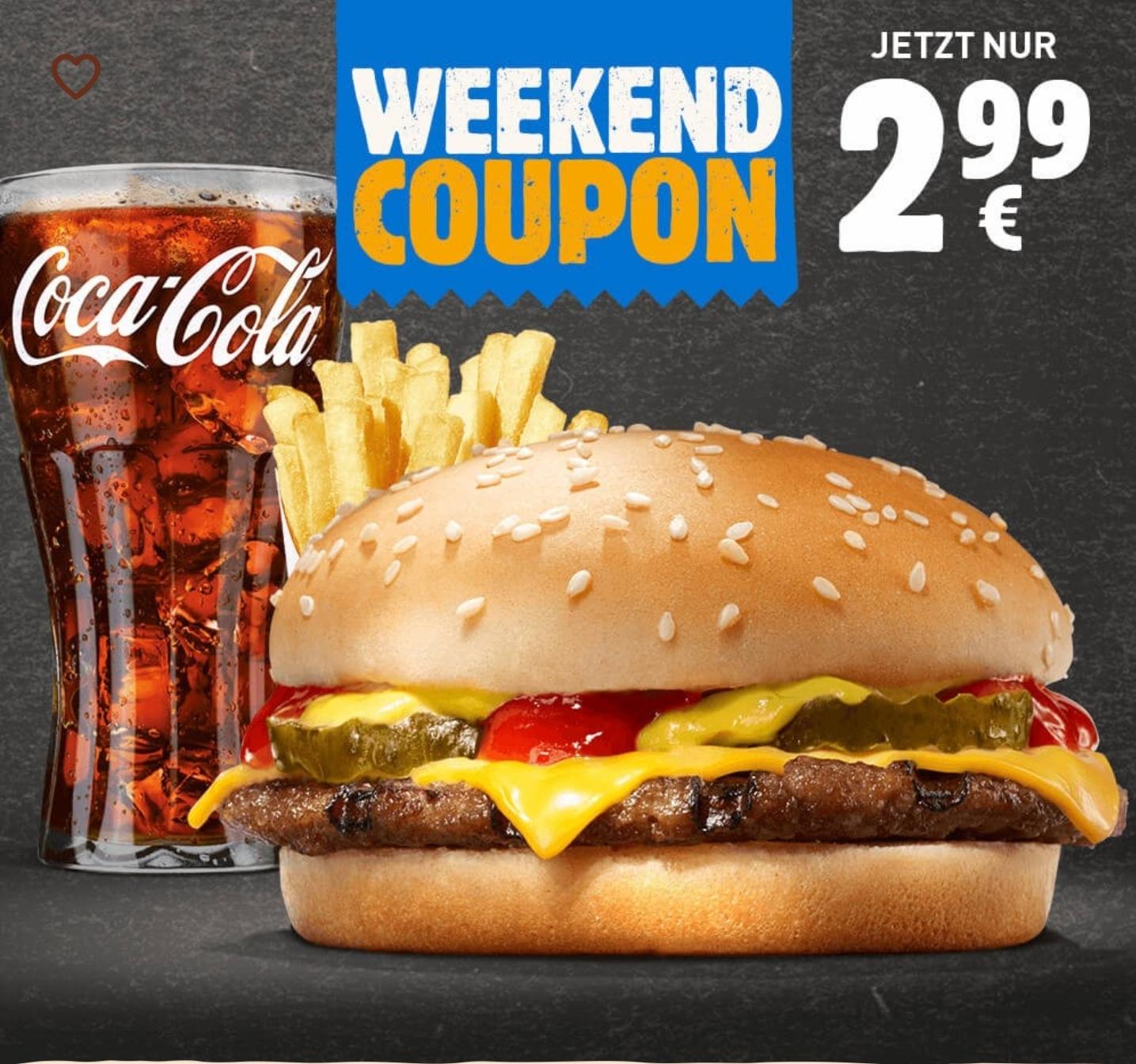 Cheeseburger + kleine Pommes + 0,3L Getränk für 2,99€ [Burger King App]