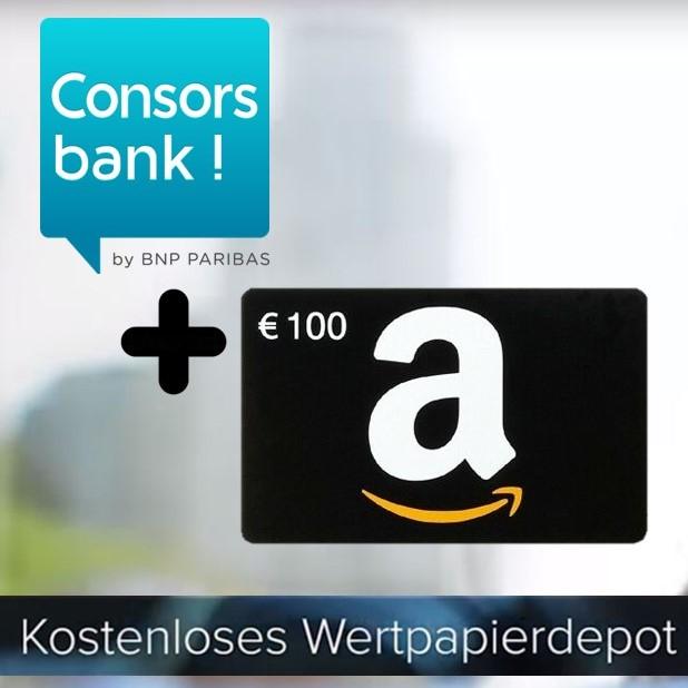 100€ Amazon Gutschein fürs kostenlose Consorsbank Depot durch 3 Trades (Aktien, ETFs, Sparpläne, etc.) - ohne Schufa & auch für JEDES Kind