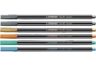 Stabilo Metallic Pen - 6 Stifte zum Beschreiben von dunklem Karton, Folien und Metall [Saturn Card]