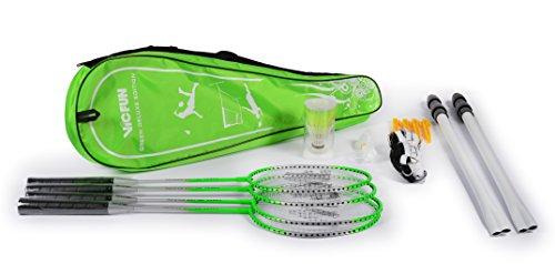 Vicfun Federball-Set (4 Schläger, 2 Bälle, 1 Netz mit Stangen und Verankerung, 1 Transporttasche) [Prime]