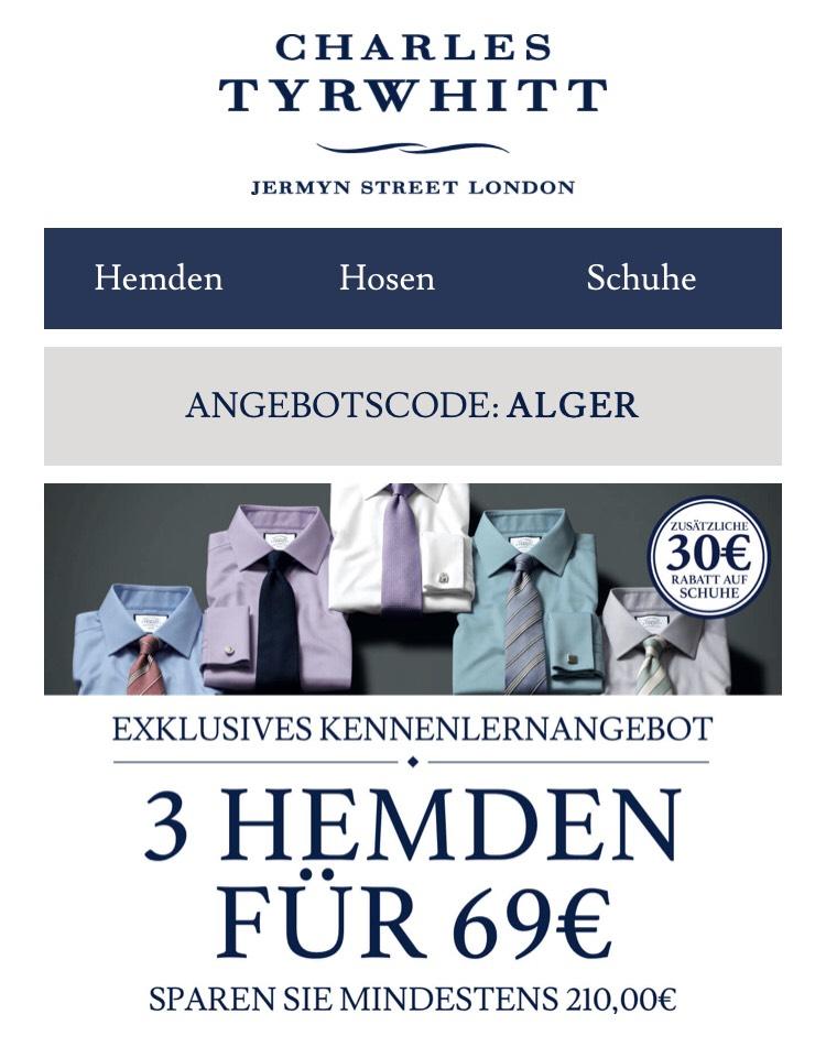 Charles Tyrwhitt - 3 Hemden für 69€ + 6,95€ Versand