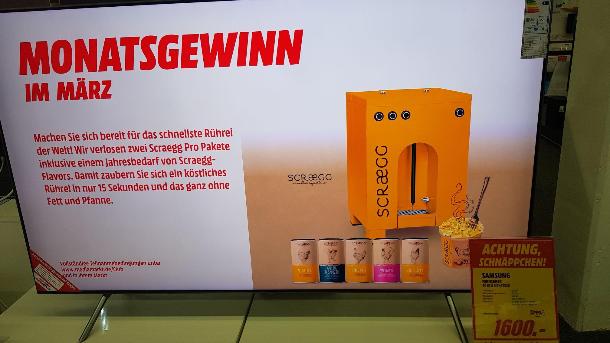 [ Lokal Media Markt Bochum Hofstede] SAMSUNG QLED FULL BACK LIGHT TV GQ65Q8D FÜR 1600€