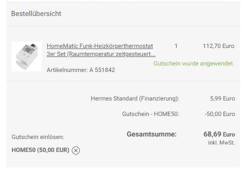Homematic Heizkörperthermostat 3er Pack mit 0% Finanzierung für 68,69€