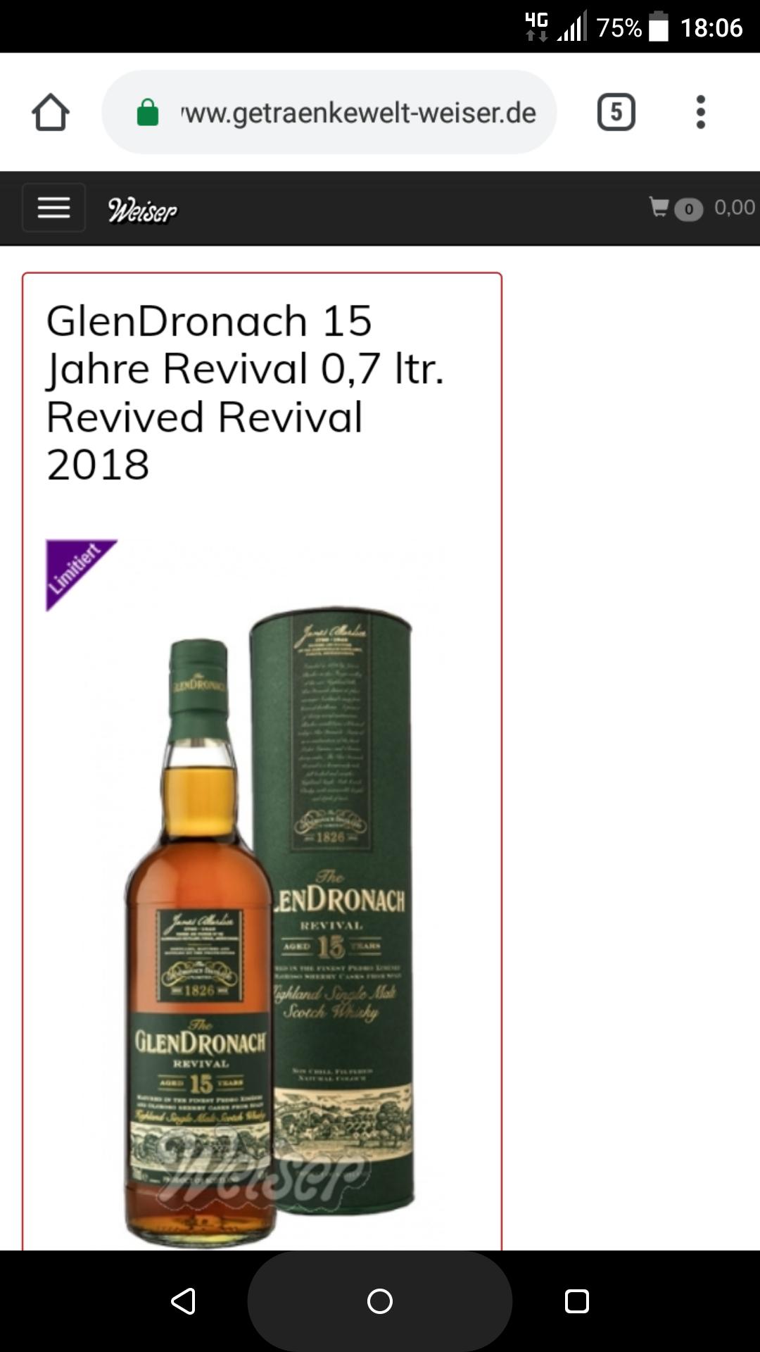 Glendronach 15 Jahre Revival Single Malt Whisky für 58,70€