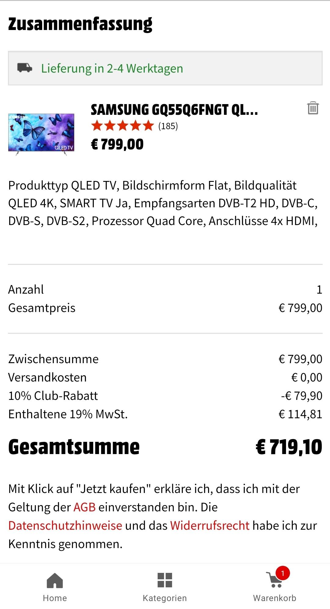 Samsung QLED UHD 4K GQ55Q6FNGT 100 HZ 138 CM (55 ZOLL), QLED 4K, SMART TV, QLED TV, 2800 PQI, DVB-T2 HD, DVB-C, DVB-S, DVB-S2