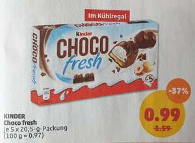 Penny ab 18.03.2019: Kinder Choco Fresh (5x 20,5gr.) für 99 Cent.