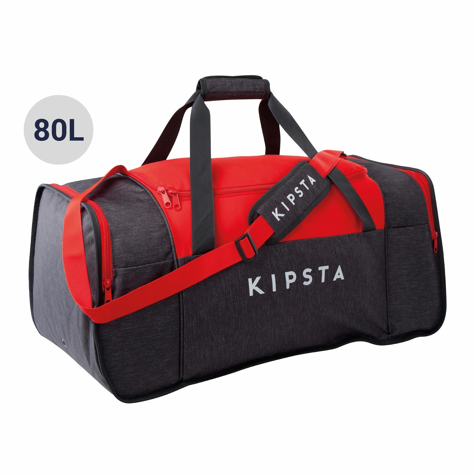 KIPSTA SPORTTASCHE KIPOCKET 80L GRAU/ROT