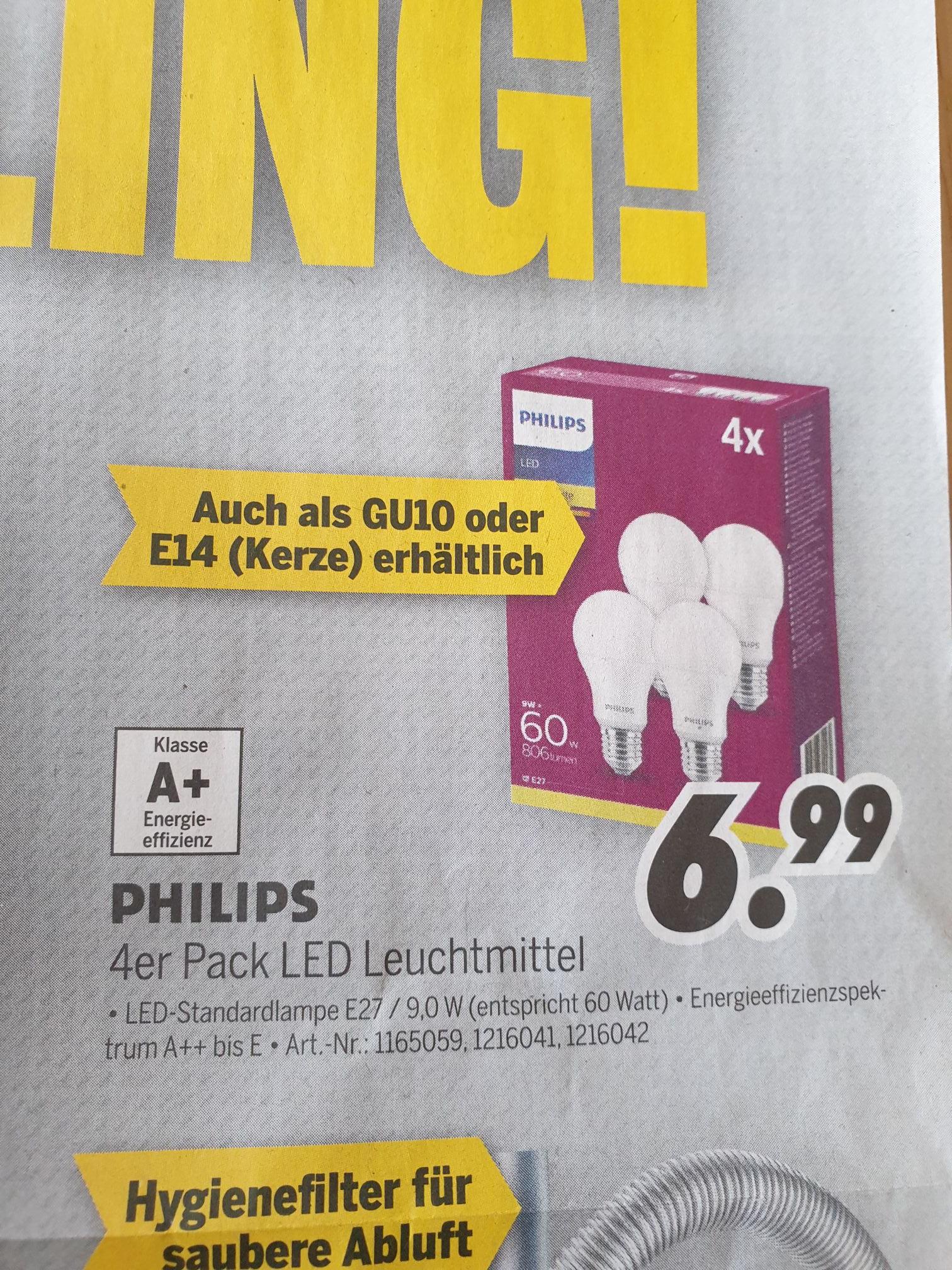 Philips 4er Pack LED E27/E14/GU10 [Lokal Medimax bundesweit]