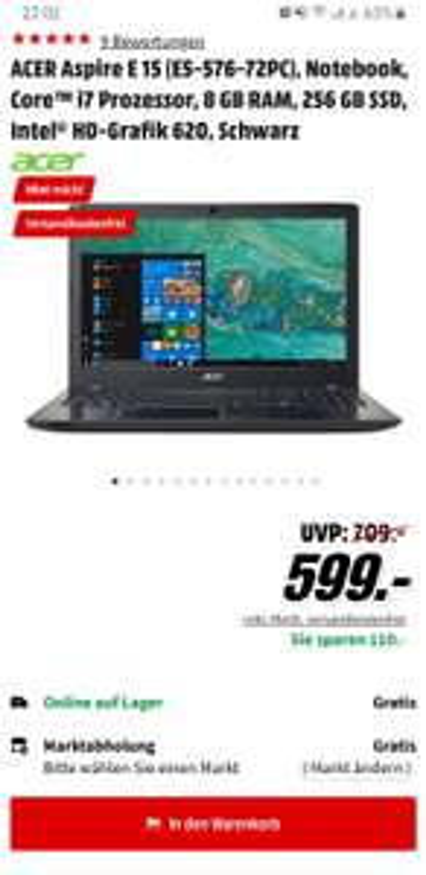 [Media Markt] ACER Aspire E15-Core™ i7 Prozessor,8 GB RAM,256 GB SSD, Intel® HD-Grafik 620,Full HD,Schwarz- Versandkostenfrei