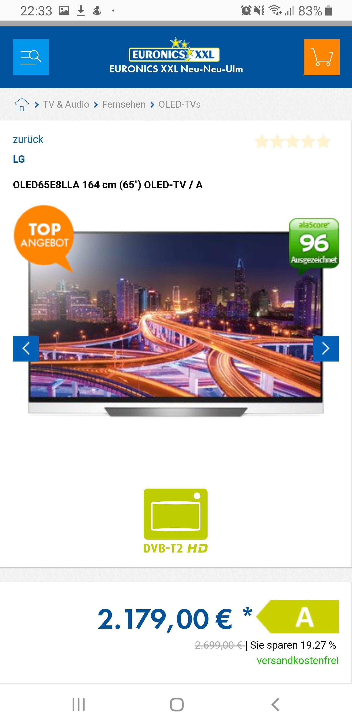 """LG  OLED65E8LLA 164 cm (65"""") OLED-TV / A"""