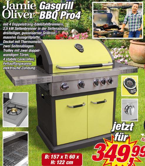 Gasgrill Jamie Oliver BBQ Pro4 in grün bei Posten Börse (nicht online)