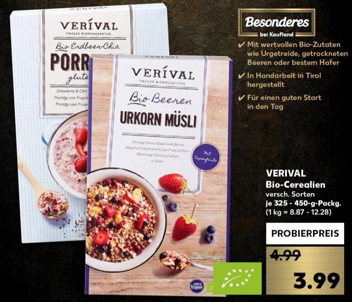 Verival Porridge oder Müsli versch. Sorten für 1,99€ (Angebot+Scondoo) bei Kaufland ab 21.03.19