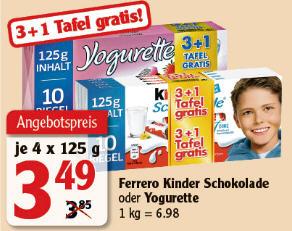 Globus - Kinder Schokolade 3+1 Tafel Gratis