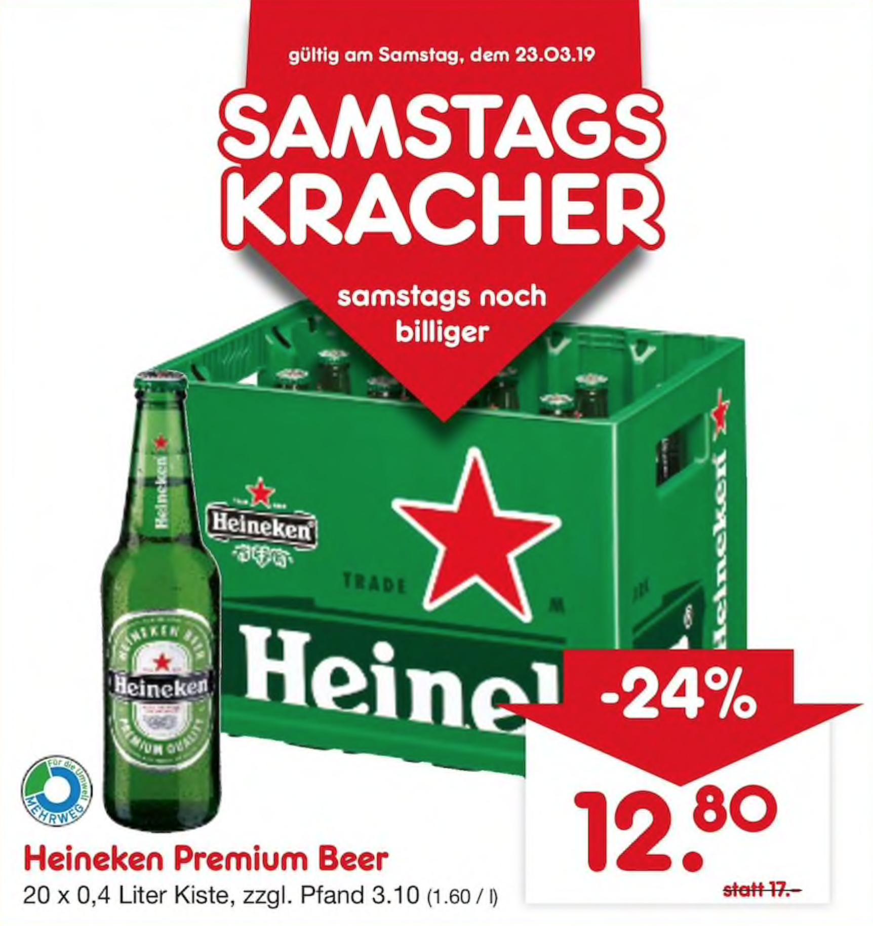 """[Netto Getränkemarkt] Heineken """"Premium"""" Bier (20 x 0,4l) (Lokal - Ludwigshafen)"""