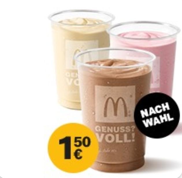 1x Milchshake Grande nach Wahl für 1,50€ [McDonald's App]