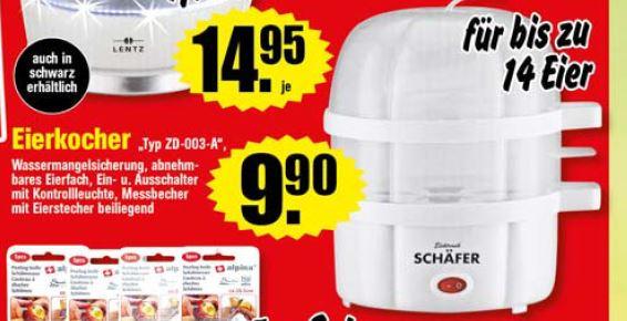 [Norddeutschland] Schäfer Eierkocher (bis zu 14 Eier) + Messbecher mit Eierstecher (Weiß)