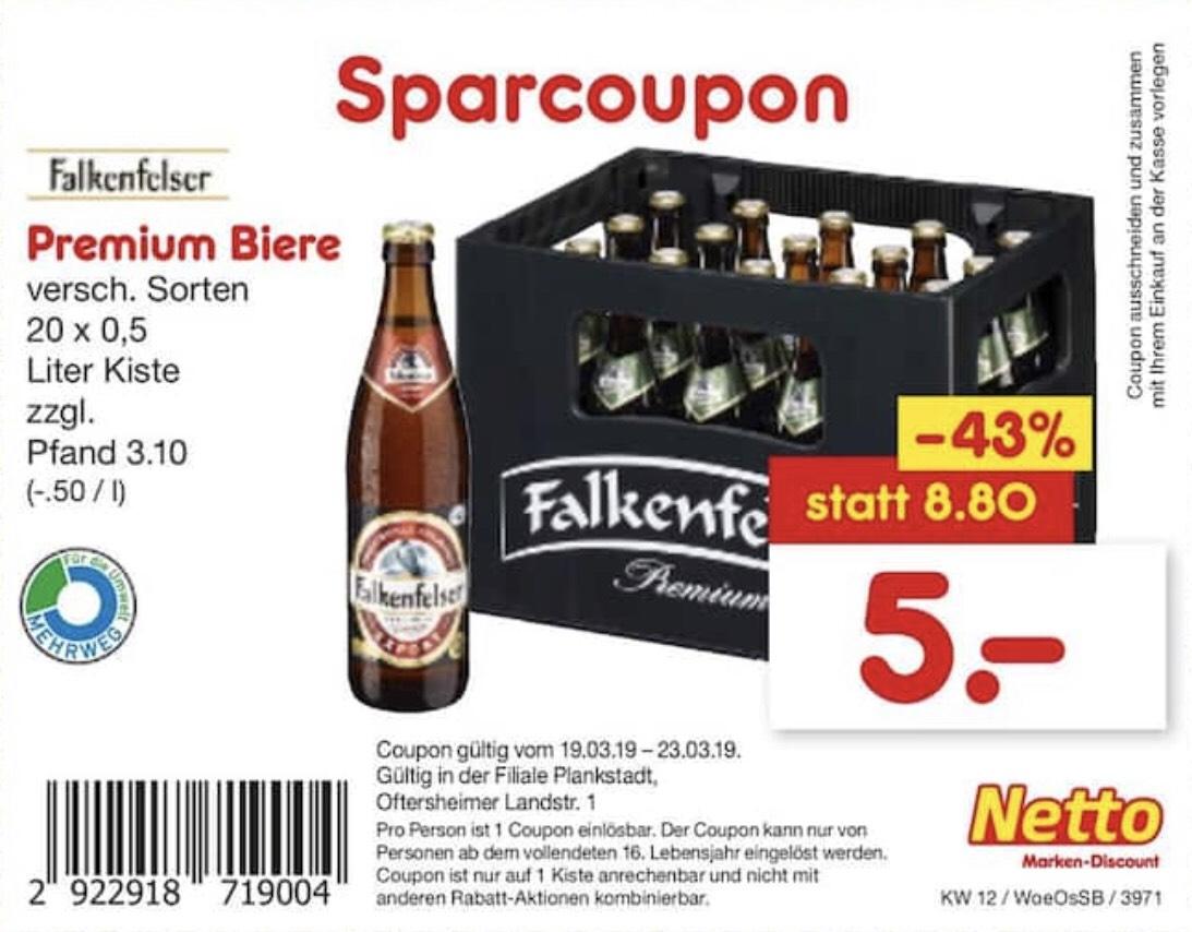 [Netto] Falkenfelser Bier (vers. Sorten, je 20 x 0,5l) (Lokal - Plankstadt)