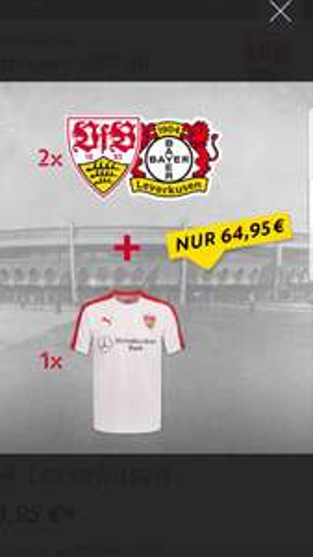 VfB Stuttgart Heimspielpaket Bayer Leverkusen (Samstag 13.4 um 15:30) 2×Haupttribüne+Stadion Shirt