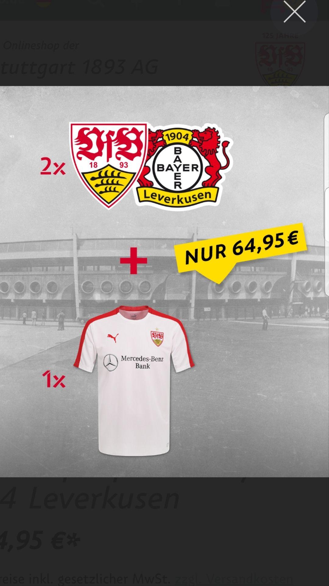 VfB Stuttgart Heimspielpaket Bayer Leverkusen (12.4-15.4) 2×Haupttribüne+Stadion Shirt