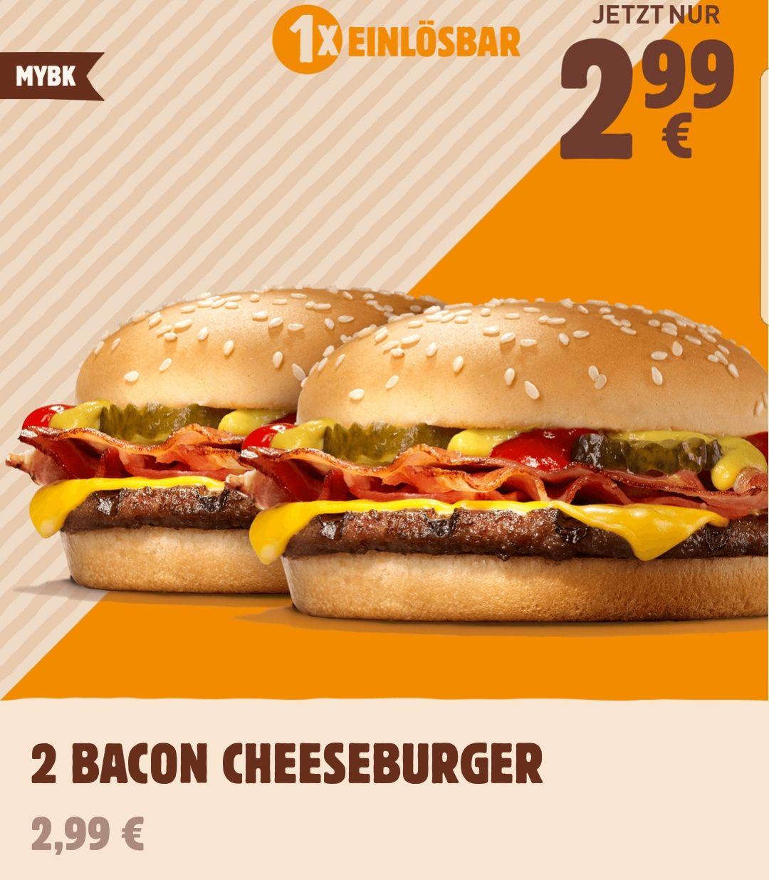 [Burger King App] 2 Bacon Cheeseburger für 2,99€