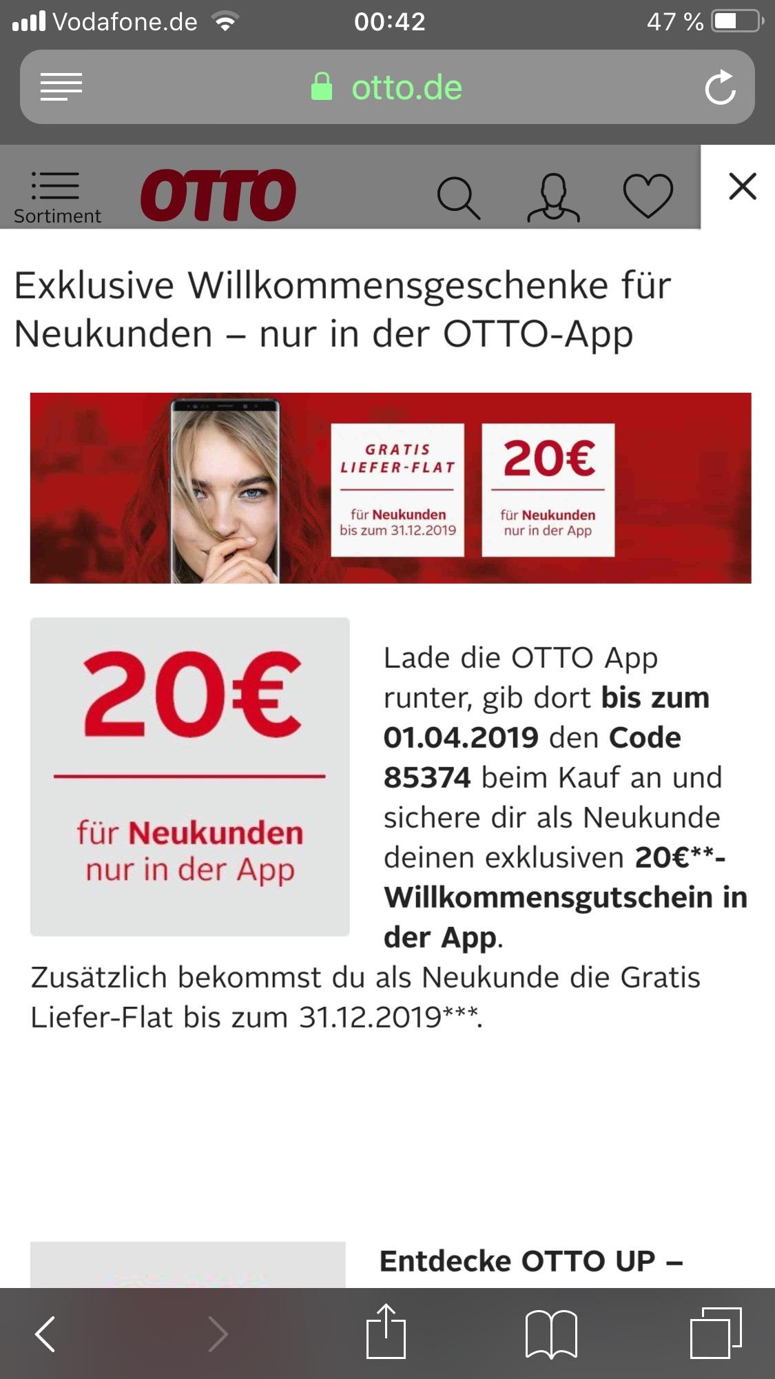 Otto Neukunden nun 20€ (50€ MBW) + Lieferflat [App]