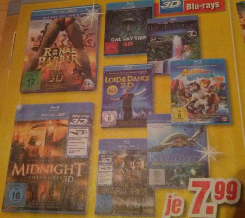 [MediMax Lokal K`Lautern] Verschiedene 3D Blu-Rays für 7,99€