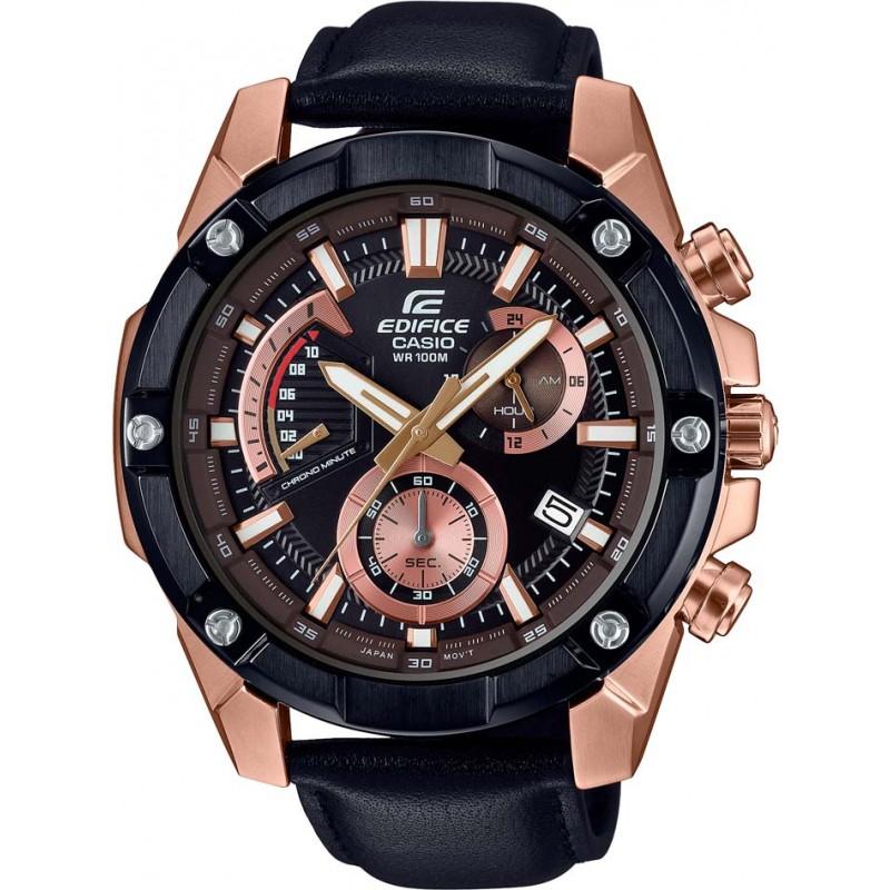 Casio Edifice EFR-559BGL-1AVUEF (Quarz-Uhrwerk, Mineralglas, Stoppuhr, Datumsanzeige, Edelstahlgehäuse, Lederarmband, bis 10bar wasserdicht)