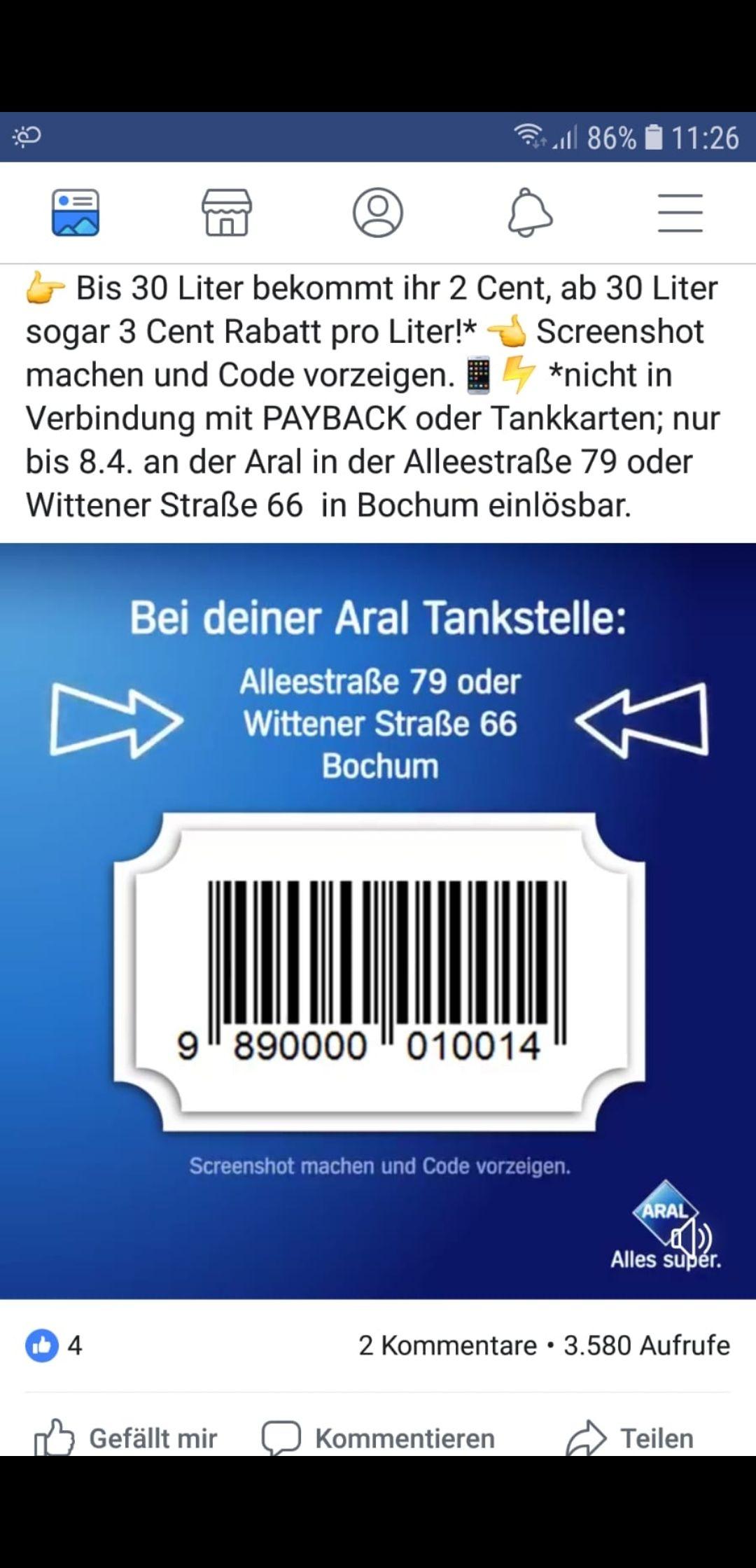 Aral Tankstelle in Bochum bis zu 3 Cent pro Liter Sparen!!! (Lokal nur in Bochum)