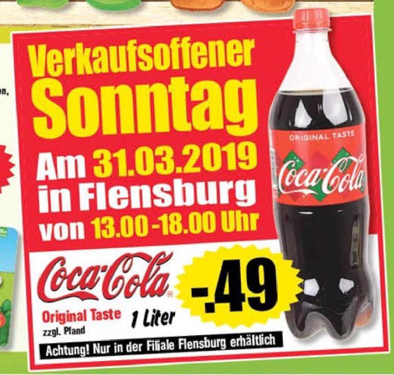 [Regional Krümet in Flensburg] Tagesangebot am 31.03 von 13-18 Uhr....Coca-Cola in der 1 Liter Flasche für 0,49€ zzgl.Pfand