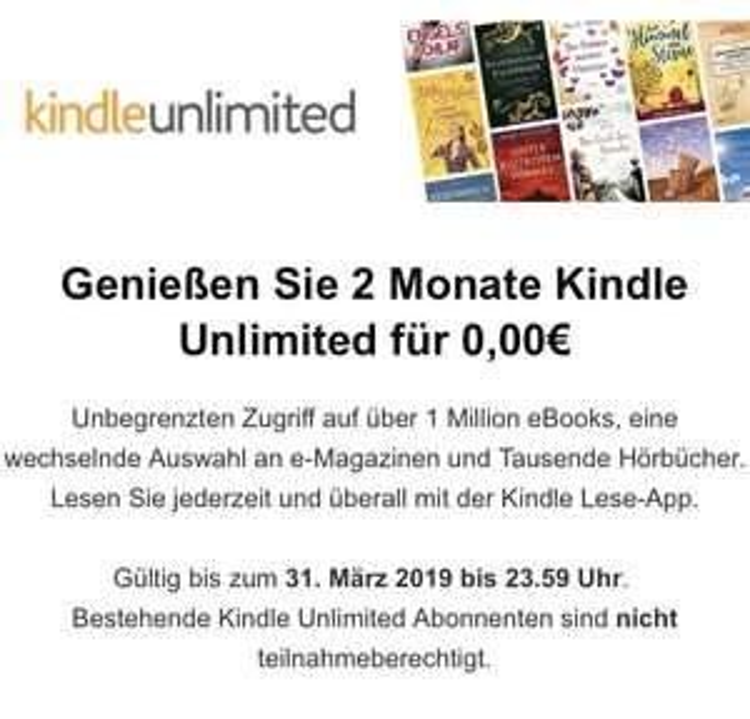 [Amazon] Kindle unlimited Abo 2 Monate gratis (Neukunden & ehemalige Bestandskunden)