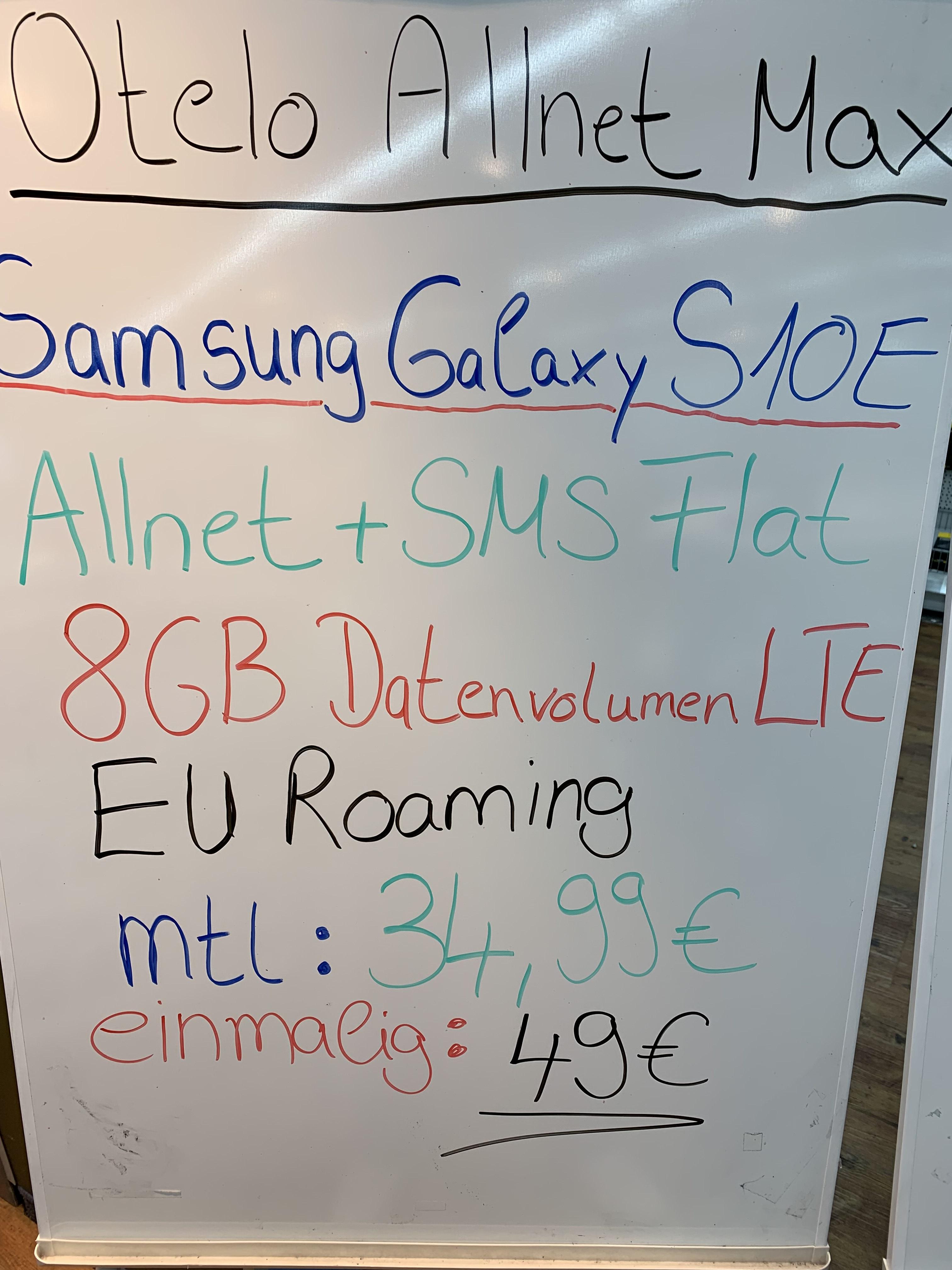 Samsung Galaxy S10e für 49€ Zuzahlung im Otelo Allnet Max LTE (8GB) für monatlich 34,99€ Medimax Mettmann [Lokal]