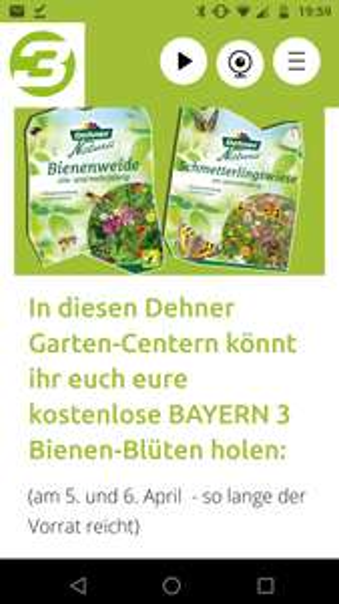 Kostenlos Wildblumensamen für Bienen und Schmetterlinge  bei Dehner von Bayern 3 5. und 6. April