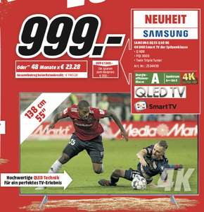 "[Lokal: Media Märkte Saarpfalz] Samsung GQ55Q60RGT - 55"" 4K UHD QLED Smart TV (VA, Edge LED, HDR10, Sprachassistent) für 999€ bzw. 899,10€"