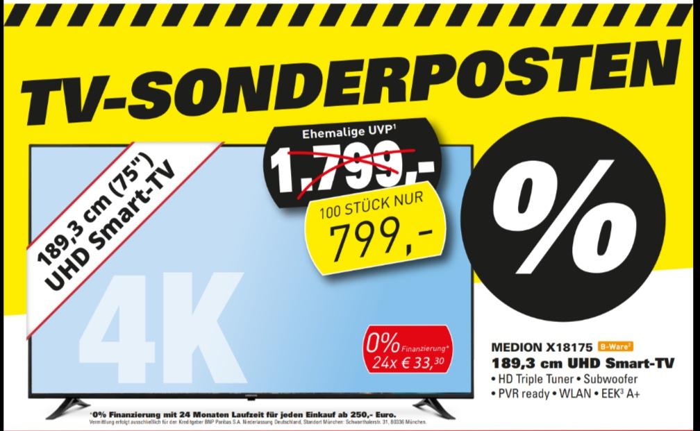 Lokal Medion x18175 75 Zoll für 799€ als bware