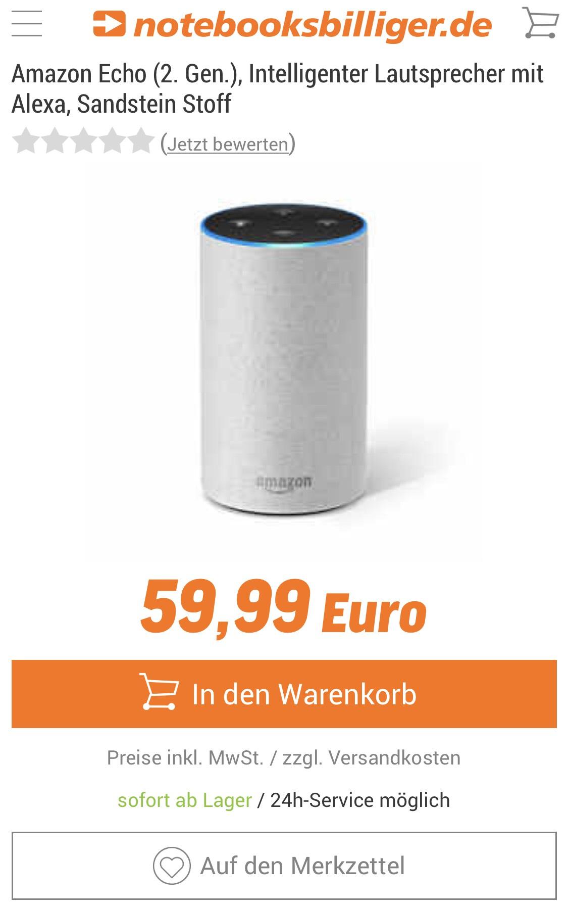 [NBB] Amazon Echo (2. Gen.) Sandstein Stoff 63,98€ inkl. Versand