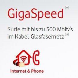 Vodafone Internet & Phone Cable mit 100-400 Mbit/s ab effektiv 11,86€ im Monat durch Wechselgarantie, sonst 19,36€ /Mon. im 400 Mbit/s Tarif