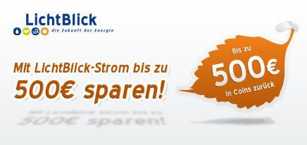 """Bis 500 € """"Cashback"""" auf Lichtblick Strom @HGWG"""