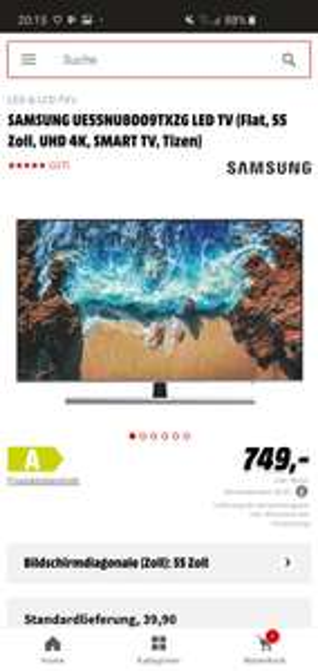 Samsung 55NU8009 4K-TV -  674,10€  [Mediamarkt]