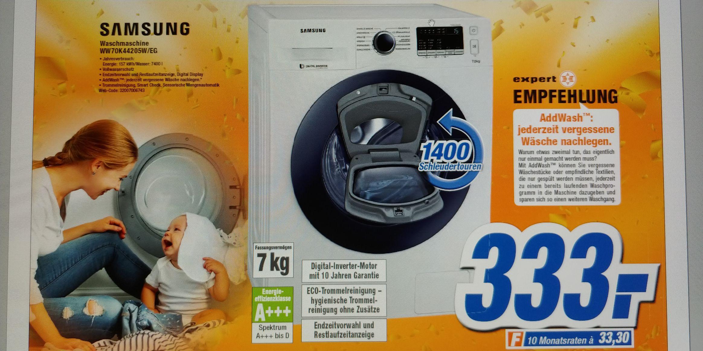 [Lokal] Expert Lingen - Samsung WW70K44205W/EG Waschmaschine 7 kg / 1400 U/min / Addwash / A+++