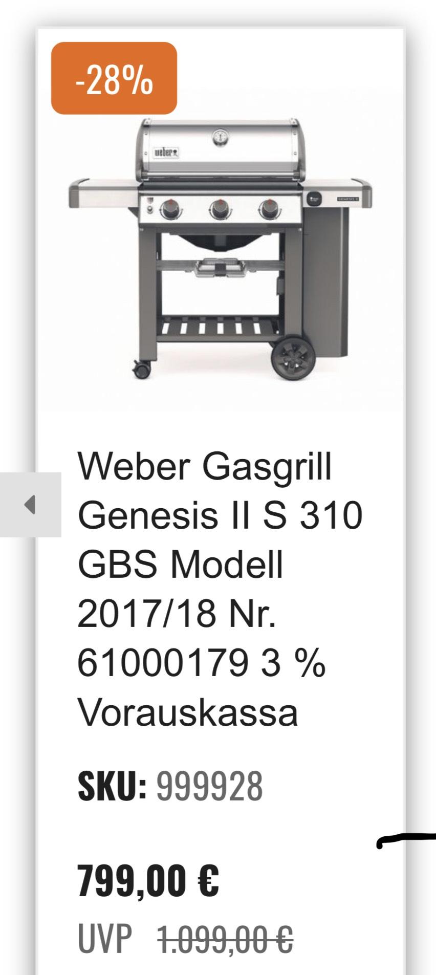 Weber Genesis II S 310 GBS Modell 17/18 in Edelstahl