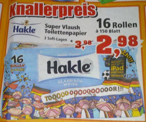 Hakle Super Vlaush Toilettenpapier 3-lagig 16 x 150 Blatt nur 2,98 € @Thomas Philipps