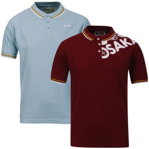 [zavvi Deal of The Day] Osaka Men's Shoulder 2-Pack Polo Tops - Burgundy/White & Sky/White für 12,89€ inkl. Versand