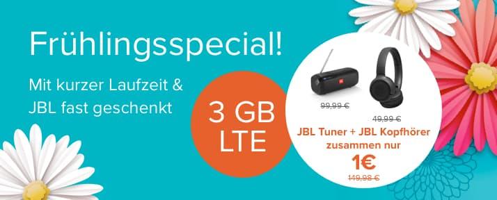 Tarifhaus Telefonica | Allnet Flat 3GB LTE | 6 Monate Laufzeit | JBL Tuner + JBL Tune 500BT supergünstig *UPDATE* jetzt noch zusätzlich mit JBL GO 2