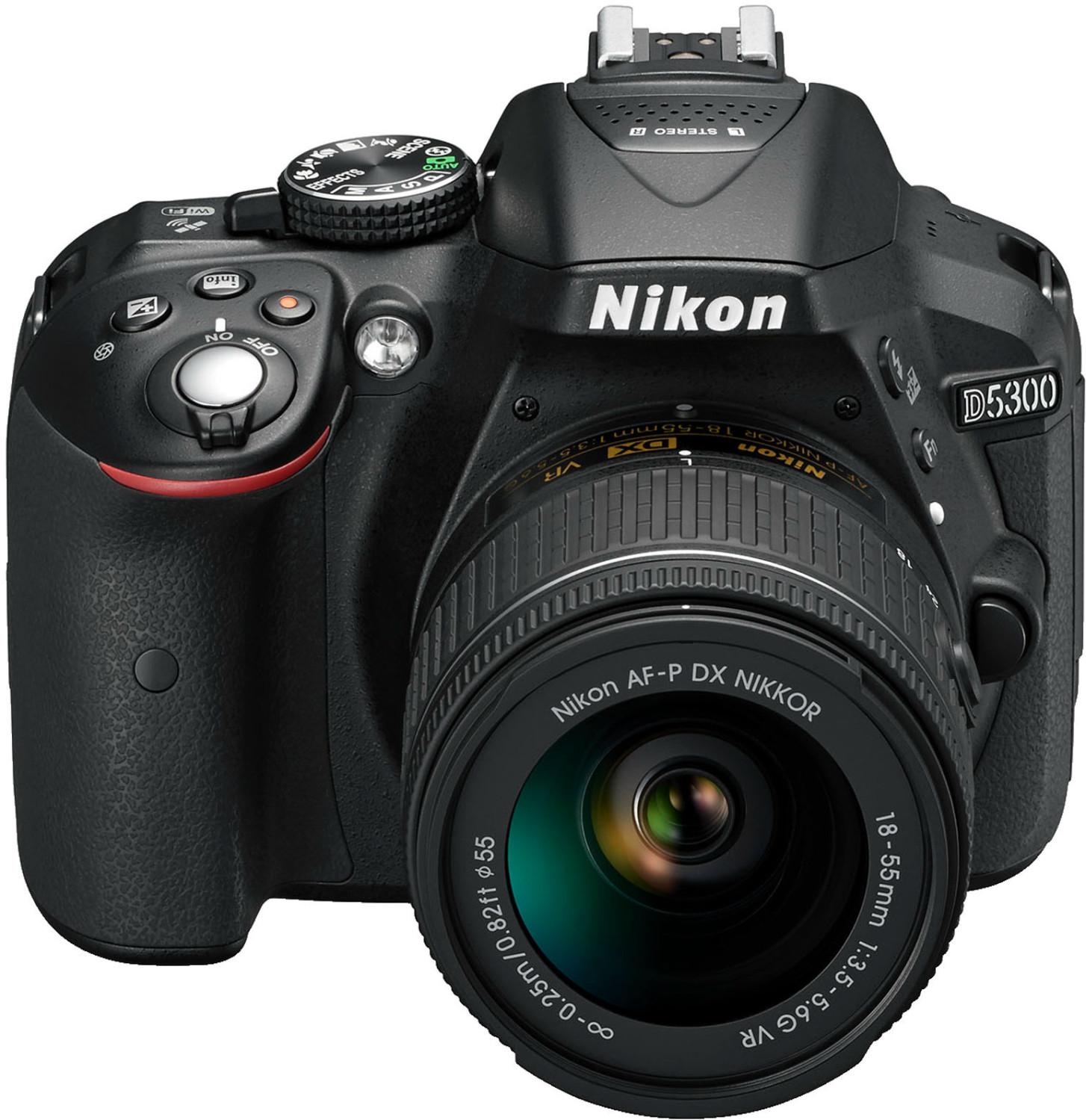Nikon D5300 digitale Spiegelreflexkamera mit 18-55mm Objektiv (24,2 Megapixel, f/3,5-5,6, Bildstabilistator, Filmen in 1080/60fps)