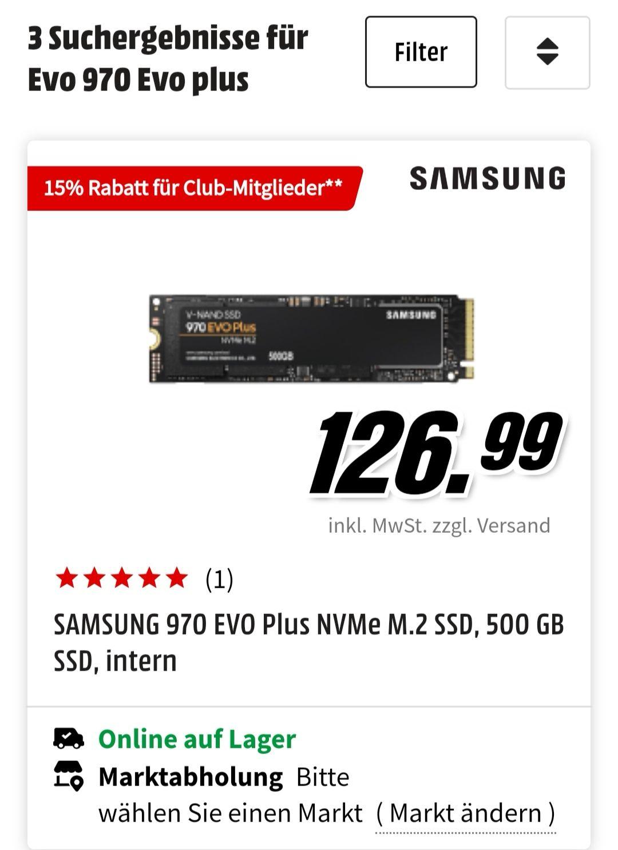Samsung 970 Evo plus 500 GB, 15 % Club-Rabatt