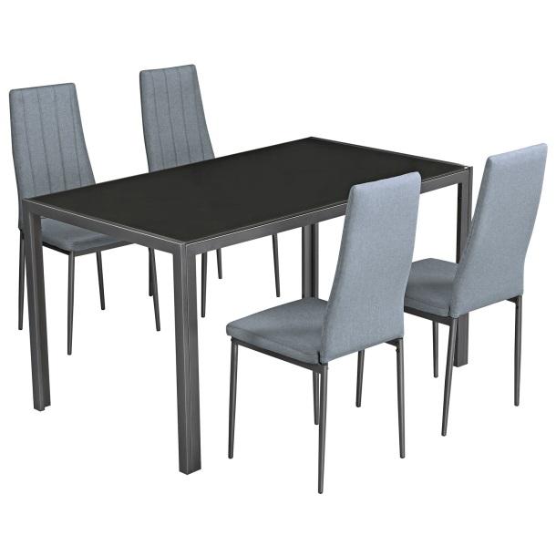 Tisch-Set mit 4 Stühlen in Grau bei Porta versandkostenfrei