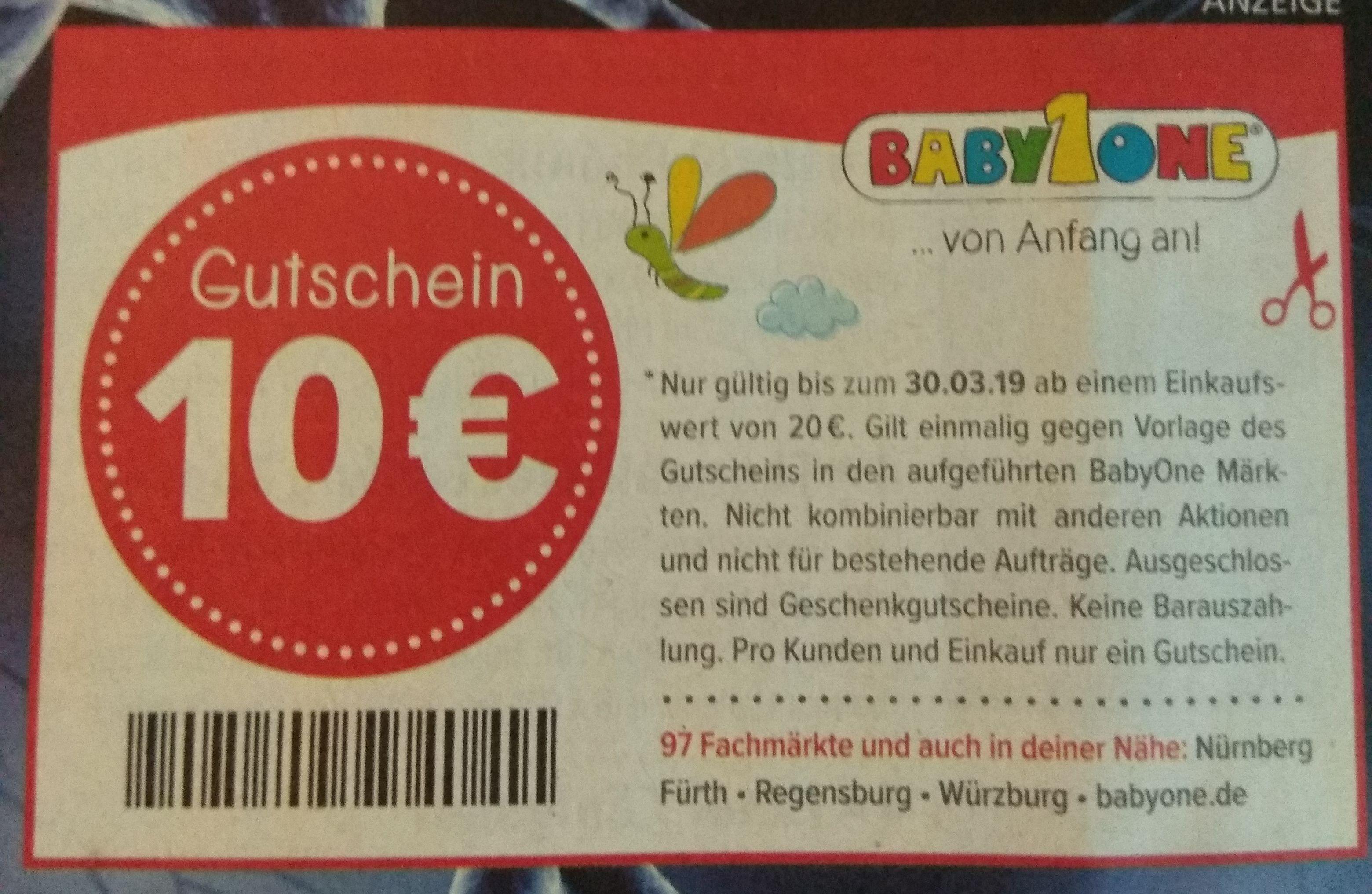 BabyOne 10 Euro Rabatt ab 20Euro Einkaufswert (lokal ...