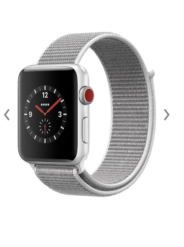 Apple Watch Series 3 LTE, 42mm, Silber, Sport Loop Muschel