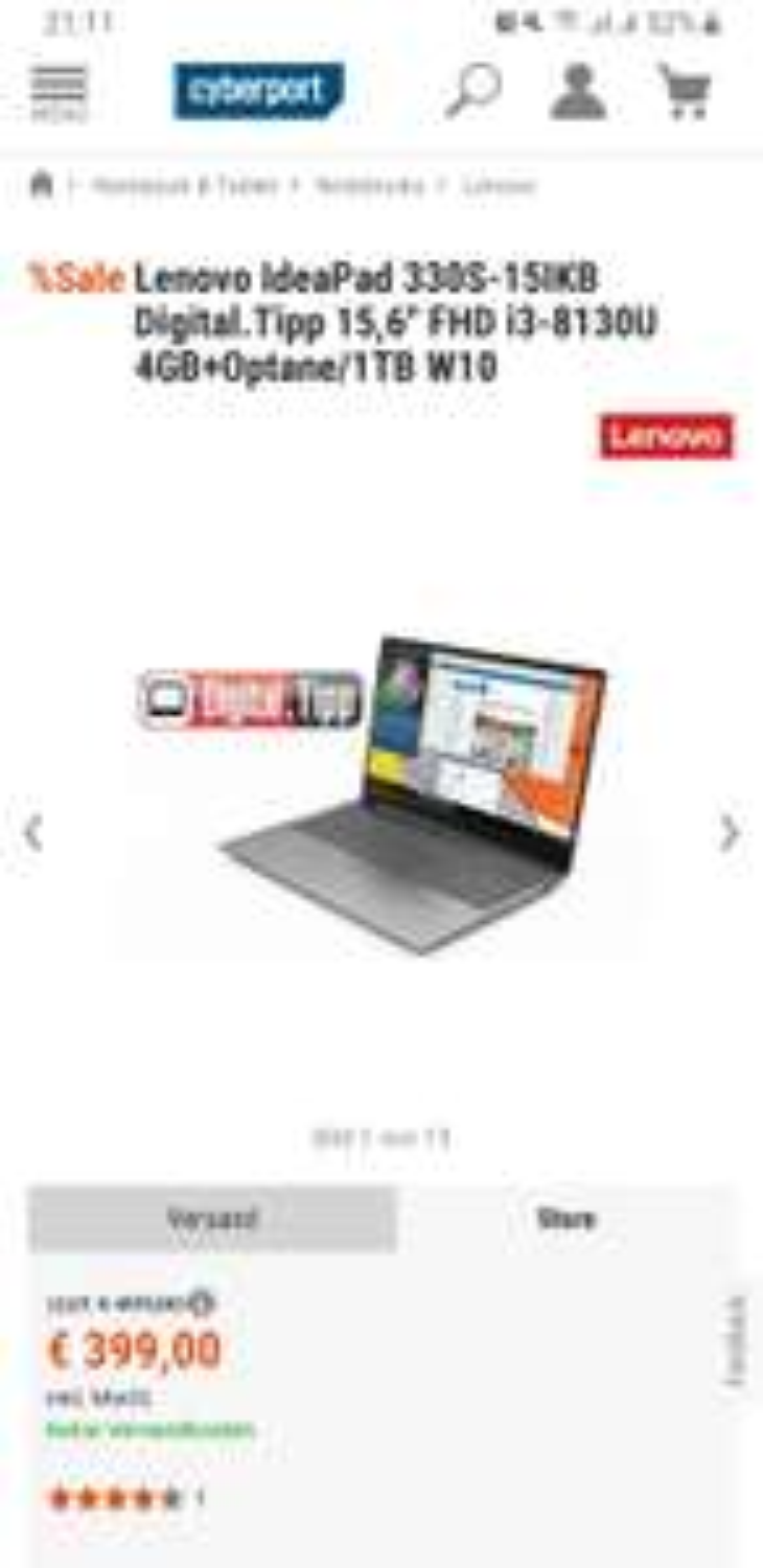 "[ebay/Cyberport] 15,4""Zoll Lenovo Ideapad 330s| Full HD | i3 8130U | 4GB Ram + Optane | 1 TB HDD | HD620 | Windows 10 | Versandkostenfrei"